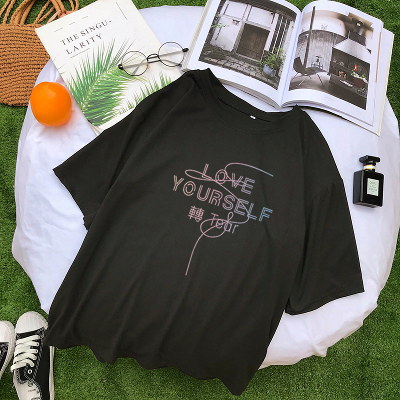 Harajuku   T     Shirt   Women Causal Korean Kpop Love Yourself Lettter Printed Tshirt Streetwear Tumblr Hipster Tee   Shirt   Femme Clothes