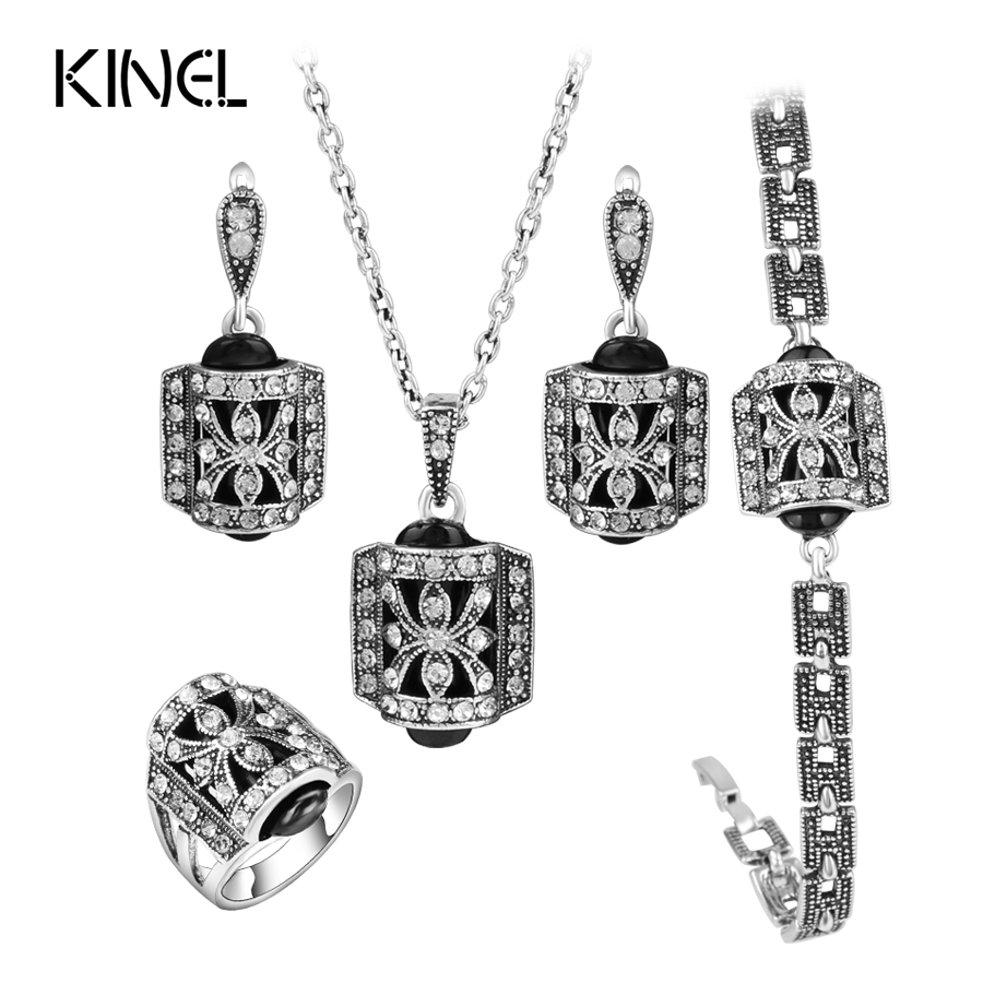 Kinel Design 4pcs Lot Turkish Fashion Jewelry Sets For Women Antique Silver Color Crystal Ring Vintage Jewelry Sets