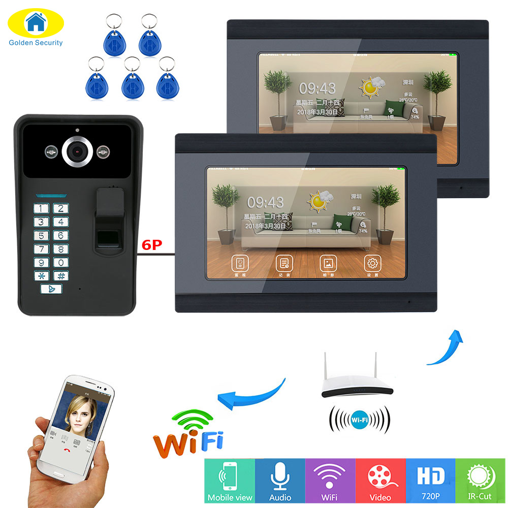 Golden Security 7 Inch 2 Monitors Wired/Wireless Wifi Fingerprint RFID Password Video Door Phone Doorbell Intercom Entry System