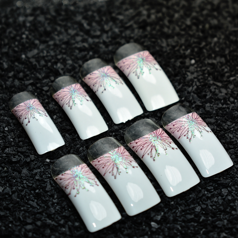 24pcs Long Square French False Nails White with Pink Flowers with ...