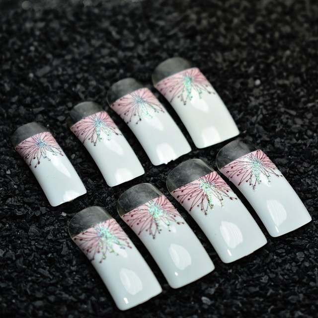 Online Shop 24pcs Long Square French False Nails White with Pink ...