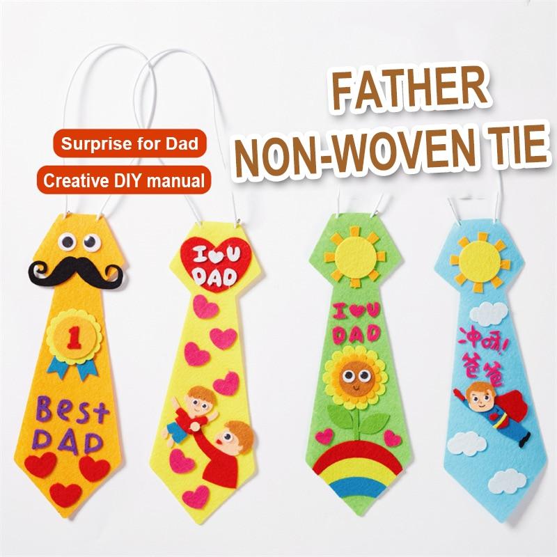 Kindergarten Lots Arts Crafts Diy Toys Dad Tie Crafts Kids Educational For Children's Toys Gift Girl/boy Christmas Gift 16906