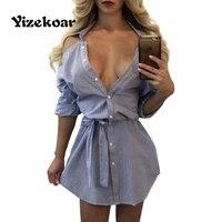 Yizekoar פס סקסי סתיו שמלות V העמוק צוואר גב פתוח שרוול ארוך הפסים כחול Vestidos שמלת חולצה עם חגורה