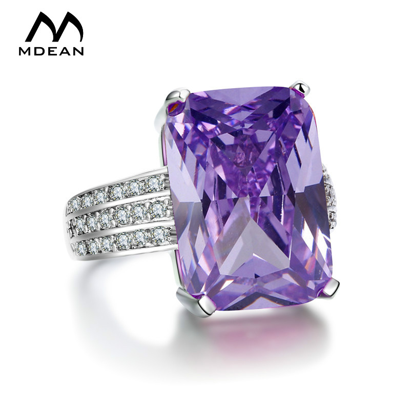 MDEAN White Gold Color Wedding Rings for Women Engagement Ring AAA Zircon Jewelry Fashion Bague Size 5 6 7 8 9 10 H394