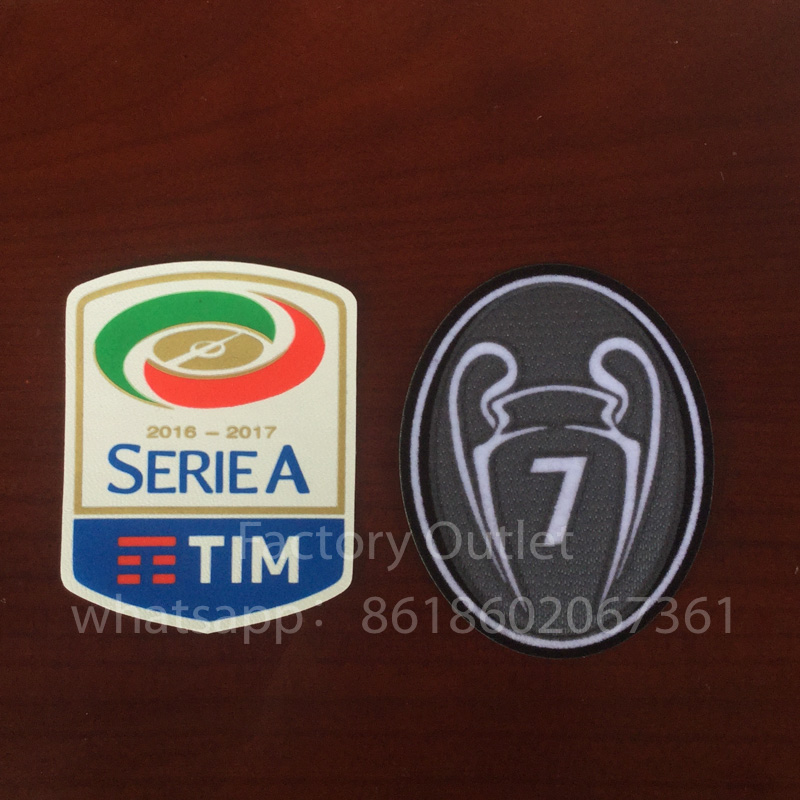 2 pcs Milan patch 16 17 Lega Calcio Serie A soccer patch+grey 7 times winners trophy patch 7th champion cup soccer badge