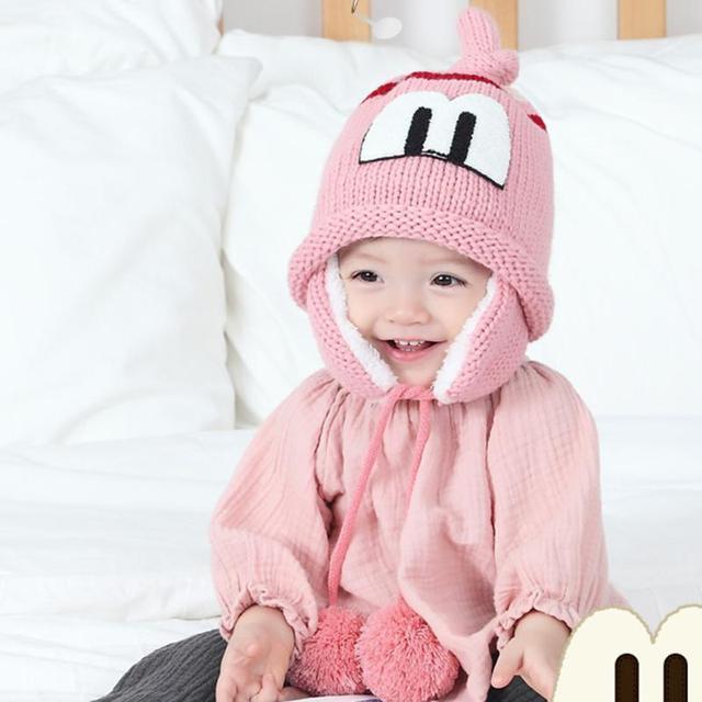 Baby Knitted Hat Warm Cartoon Letter Kids Earflap Protection Cap Beanie  Thicken Winter Infant Boy Girl Cute Fleece Hats Skullies 6c544cfcf62b
