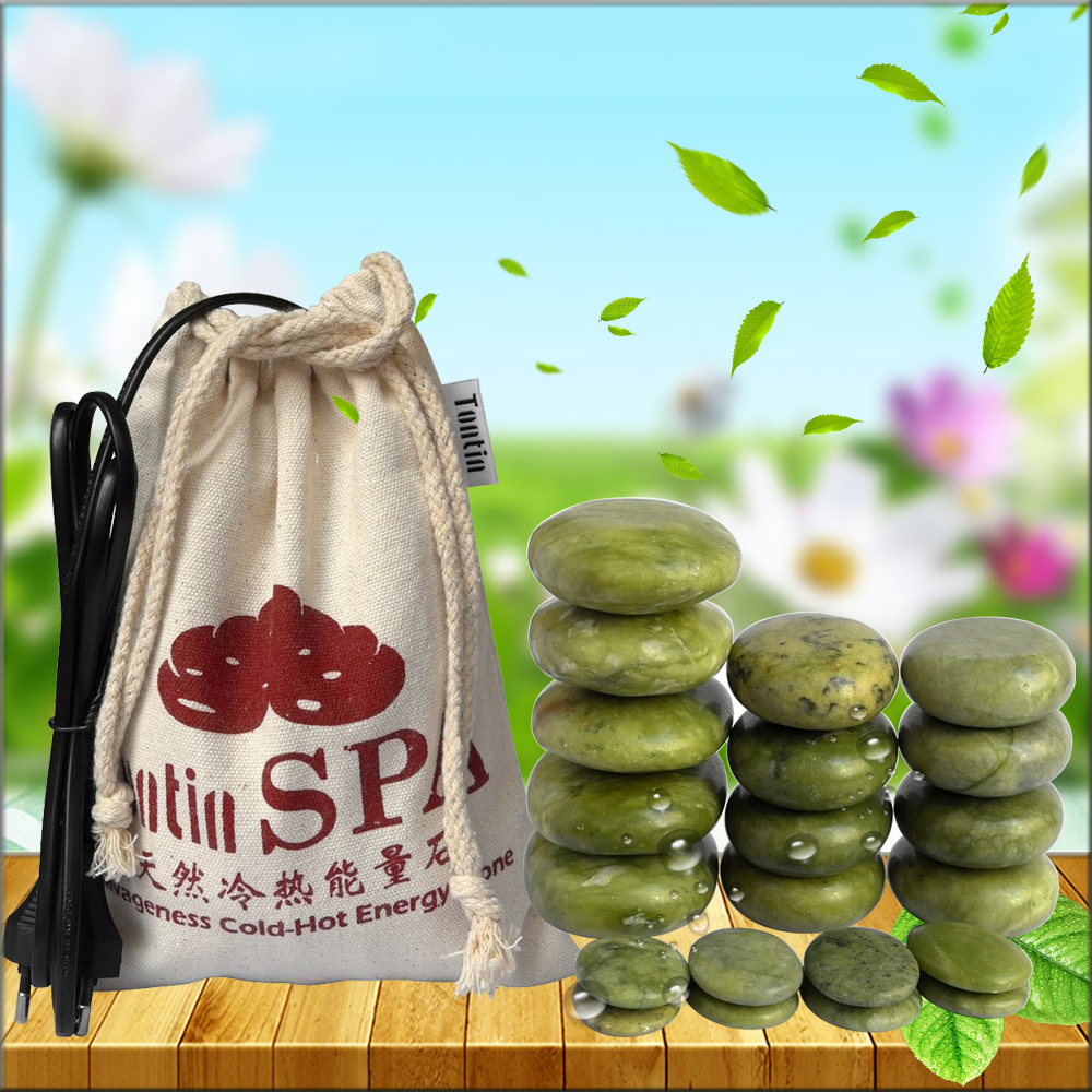 Green Jade Body Massage Hot Stone SPA Canvas heater Bag Relieve Pain Spa Relax Body Heating