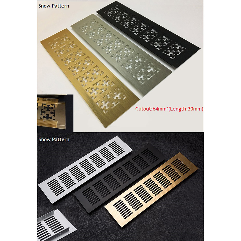 2Pcs Snow Flower Grid Rectangle Gold Silver Black Aluminum Air Vent Grille Cover Furniture Shoe Closet Cabinet Flush