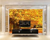Autumn season maple apricot tree gold floor with golden fallen leaves background wallpapers for living room