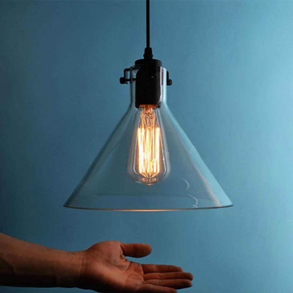 new vintage clear glass pendant light metal hanging lamps e27 110220v light bulbs for