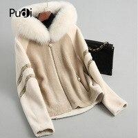 PUDI B181203 women's winter warm real wool jacket vest genuine foxcollar leisure girl coat lady jacket overcoat