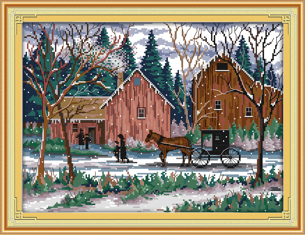 Snowy day Crafts Sewing Counted Cross Stitch Kits DMC 11CT Accurate Printed Embroidery DIY Handmade Needle Work Wall Home Decor