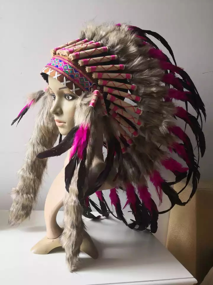 American Native Indian Headdress Feather Chief Headpiece Hat For Stage Performance
