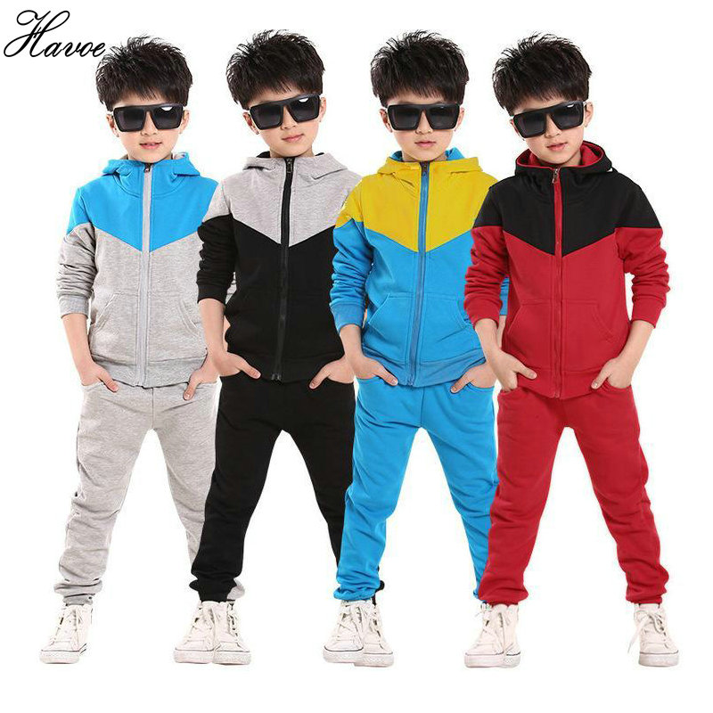 2017 Retail Children Shampooers Jogging Tracksuit Sport Set Hooded Coat Pants Kids Boys Baby Spring Autumn