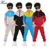 2017 Retail Children Shampooers Jogging Tracksuit Sport Set Hooded Coat Pants Kids Boys Baby Spring Autumn