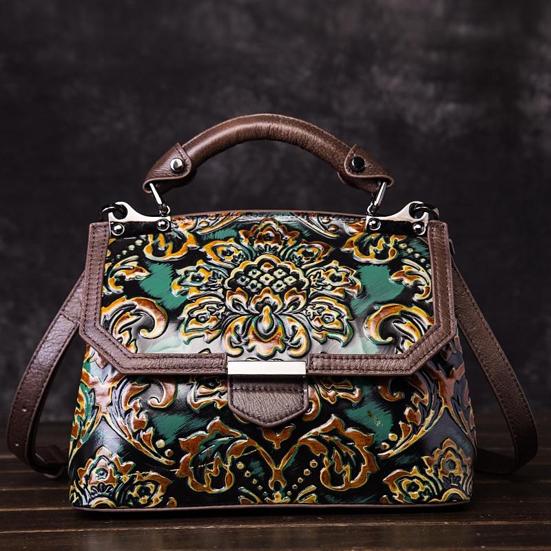 Natural Skin Top Handle Shoulder Bag Cross Body Handbag Embossed Vintage Leisure Women Genuine Leather Messenger