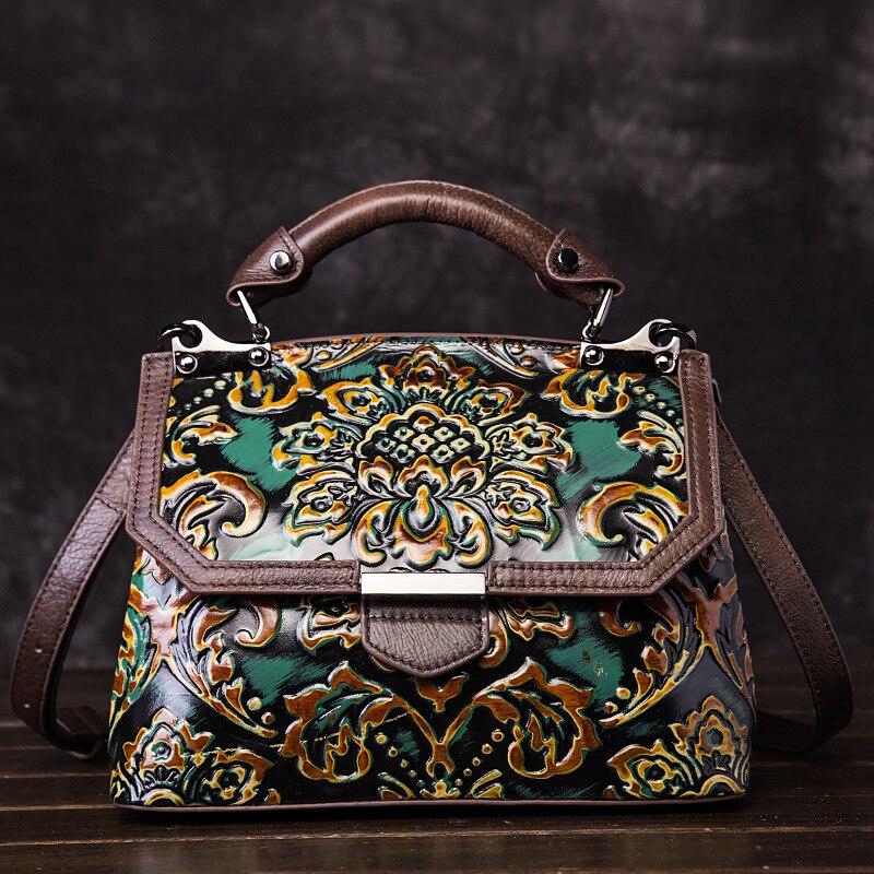 Femmes en cuir véritable sacs bandoulière sac à main en relief Vintage première couche peau de vache Top poignée sac Messenger épaule fourre-tout sac à main