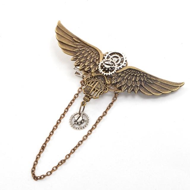 Women Vintage Steampunk Wings Brooch