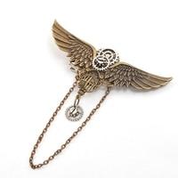 Women Vintage Steampunk Wings Hair Clip Headwear Gear Brooch