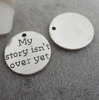 50pcs/lot 25MM my story isn't over yet metal word charm, lettering message Pendants jewelry image