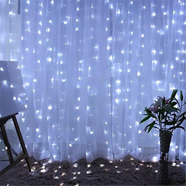 Kmashi 2pcs/lot LED Curtain Light String Lights 3x3M 300led Fairy ...
