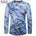 2017 новых людей модный бренд 3D печать Футболка с длинным рукавами clothing случайные хлопка slim fit шею мужская футболка Топы Тис