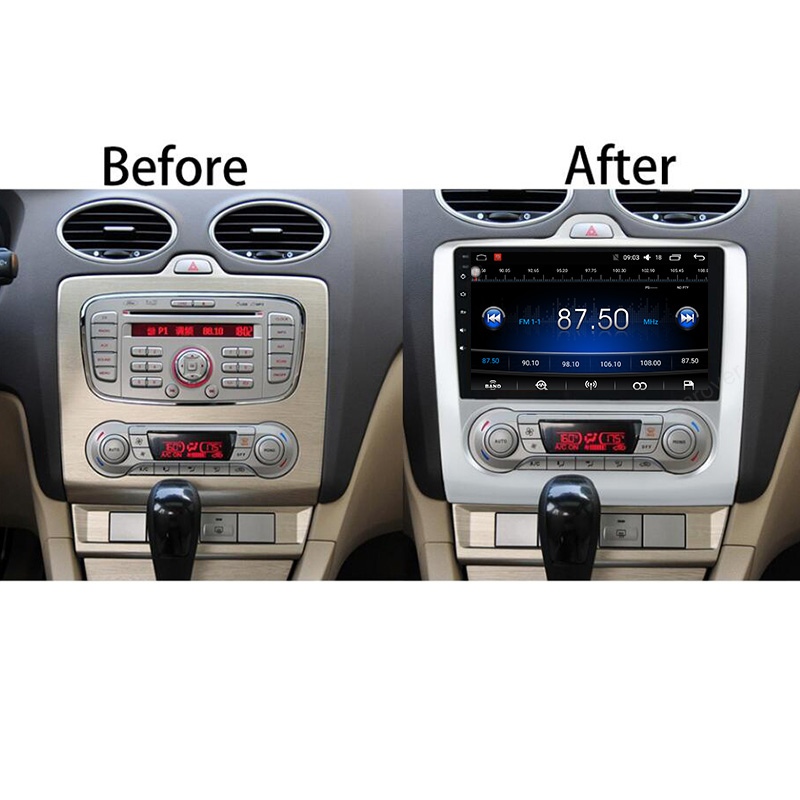 FUNROVER Quad-core 2 Din 9 Android 8.0 Car PC DVD GPS For Ford Focus AT MT 2005-2011 2GB RAM 32G With Stereo Radio Bluetooth