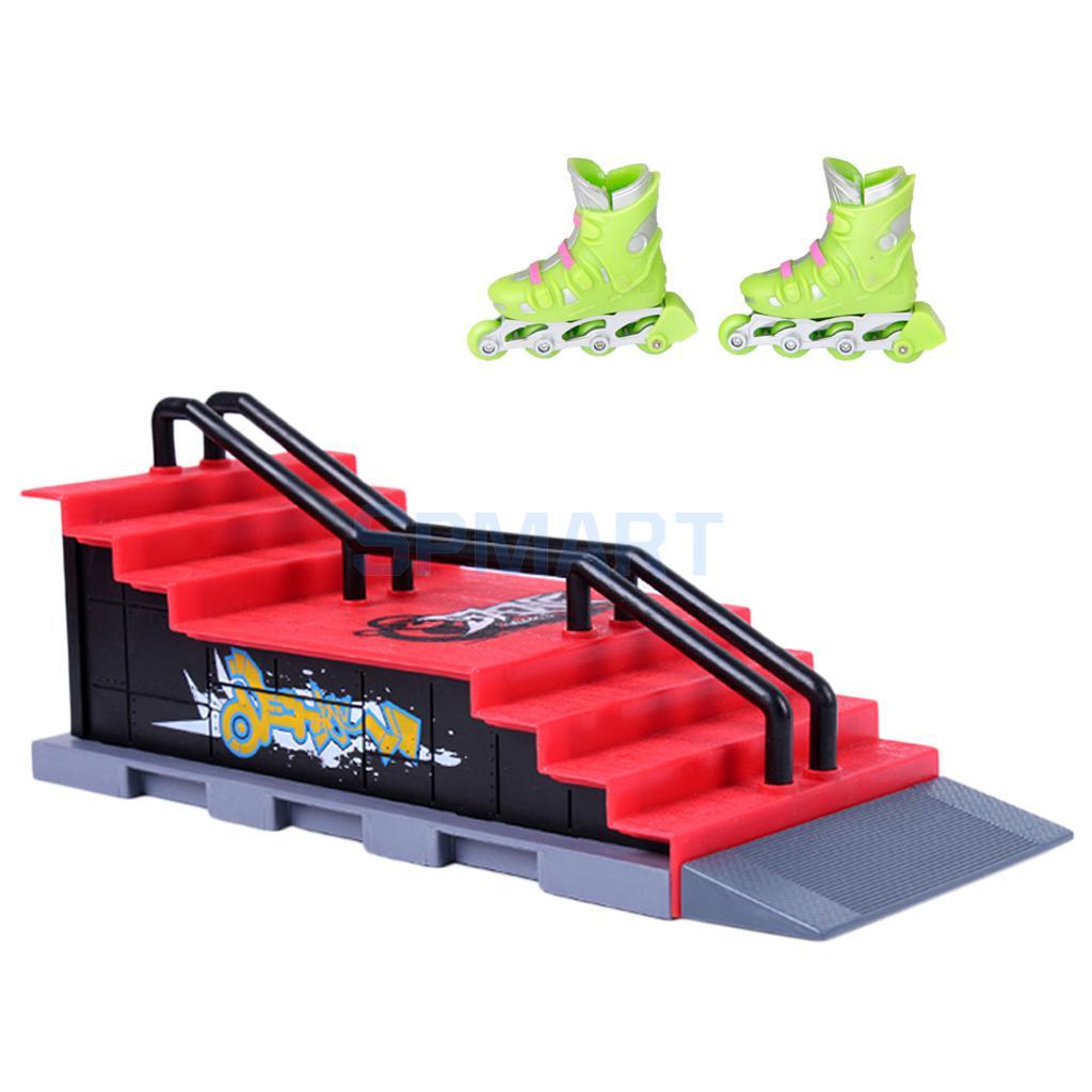 1 Paar Finger Rollschuhen Mit Mini Skateboard Und Rampe Zubehör Set F GroßEr Ausverkauf