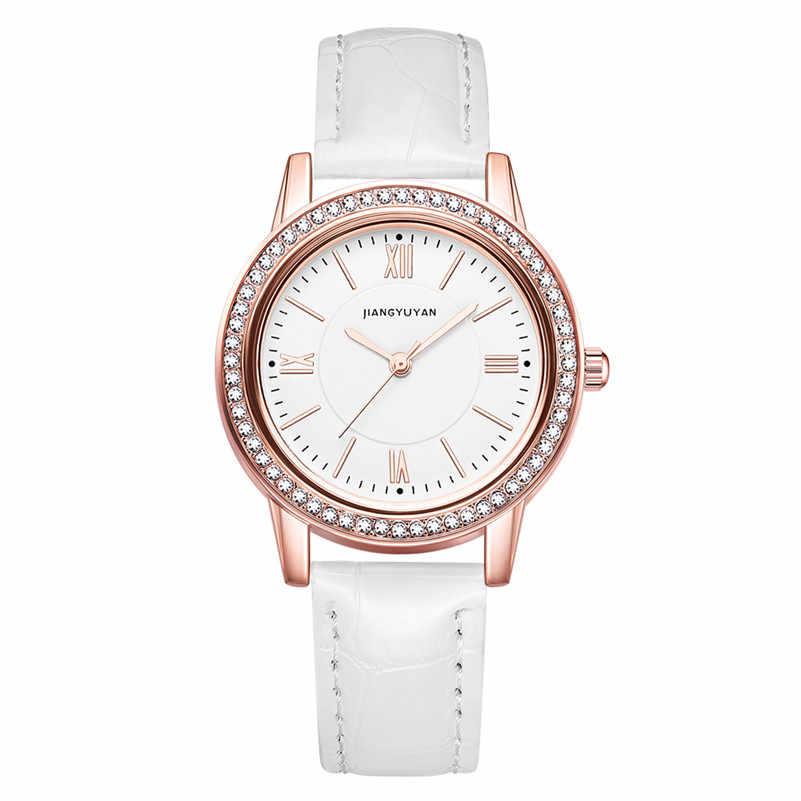 חדש שעון נשים אופנה פשוט שעונים עם ריינסטון מרובה צבעים עור רצועת שעוני יד בנות מתנת שעון 2019