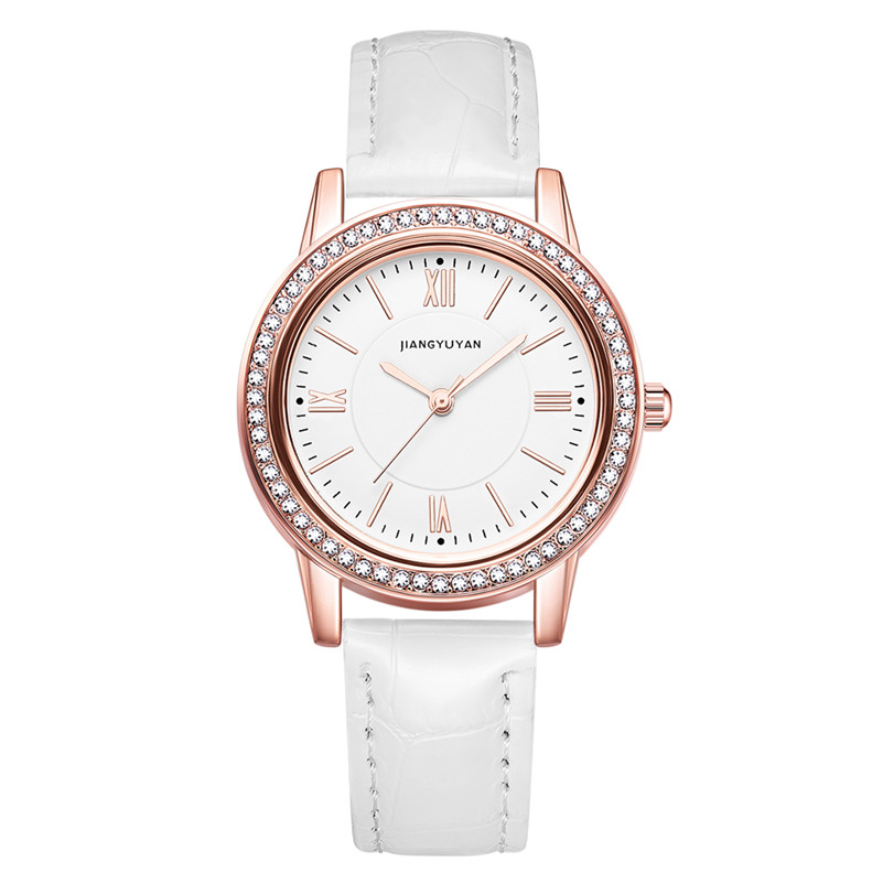 New Watch Women Fashion Simple Watches With Rhinestone Multiple Colors Leather Strap Wristwatch Girls Gift Watch 2019