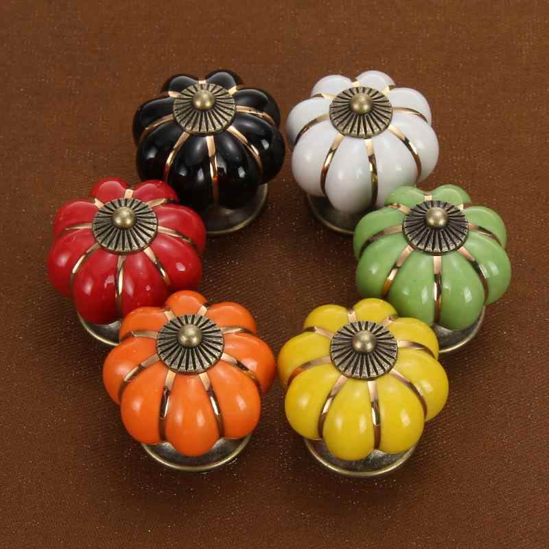 6 Colors Vintage Furniture Handle Door Knobs Pumpkin Ceramic Cabinet Handles Furniture Drawer Cupboard Kitchen Doorknobs