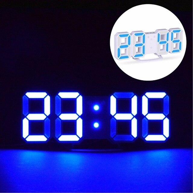 ĐÈN LED Kỹ Thuật Số Đồng Hồ Báo Thức Lớn Số 3D Đồng Hồ Treo Tường 8 Hình Bàn Điện Tử Đồng Hồ Kệ Nixie Đồng hồ Horloge bức tranh tường trên tường nhà