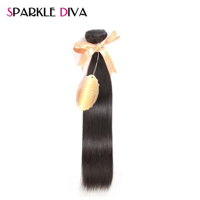 [SPARKLE DIVA HAIR] Peruvian Straight Hair Weave 100% Remy Human Hair Bundles 10-28Inch Natural Color Hair Extensions Ships Free