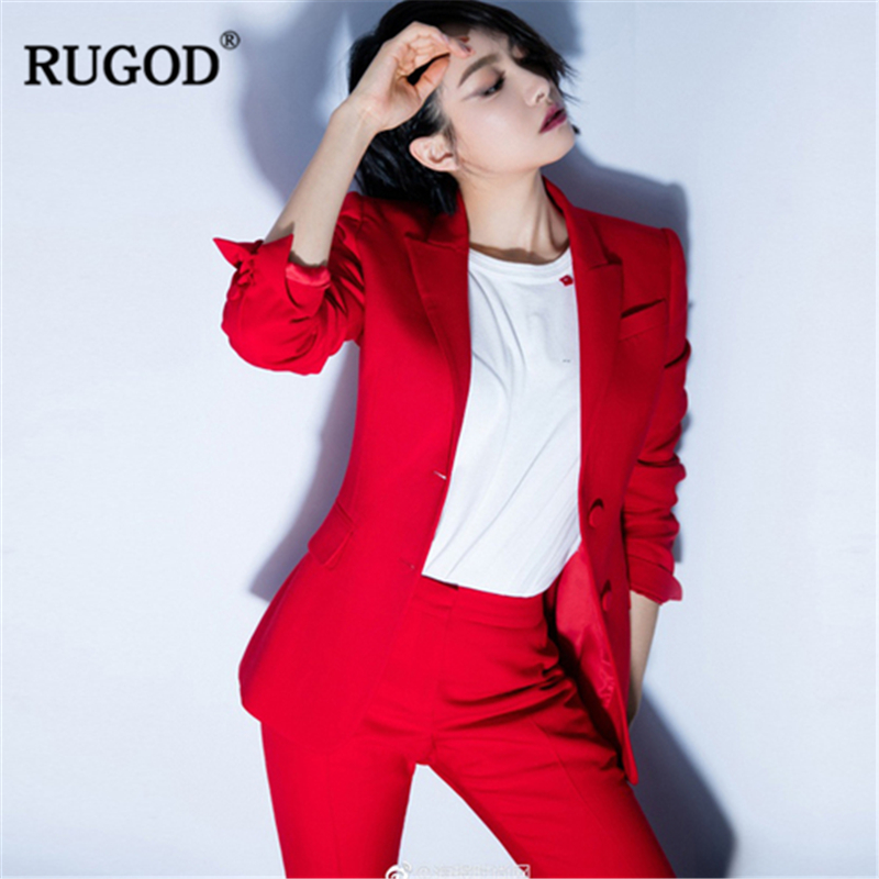 Costume Rouge Longues Blazer Bureau Pantalon Femme Et 2018 Tailleur IA4qRxwtq