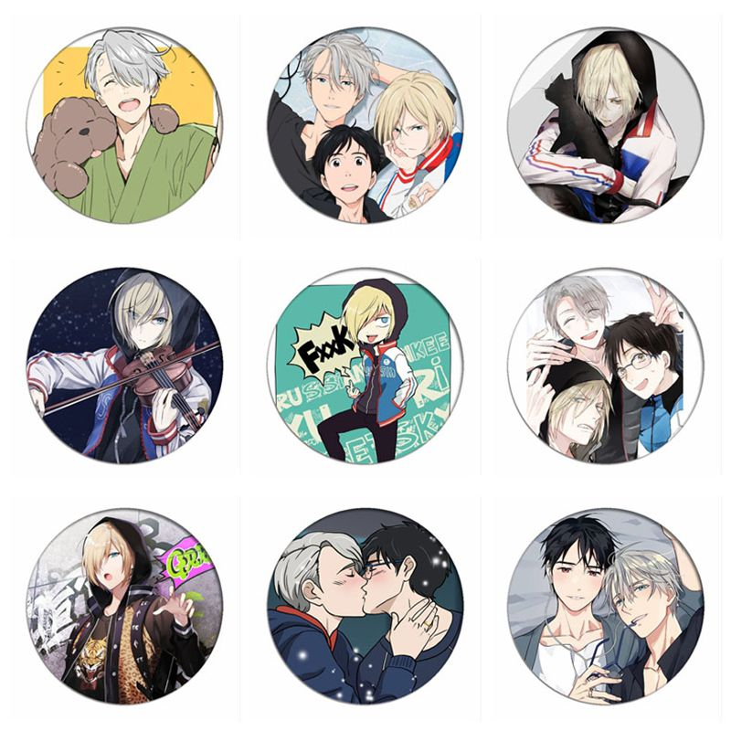 Anime Yuri on Ice Victor Cosplay Badge Yuri Katsuki Plisetsky Cartoon Brooches Pins Collection bags Badges for Backpacks Clothes