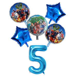 Image 5 - 6pcs/set Spiderman Foil Balloons Avengers Number Balloon Birthday Party Decorations Super hero Boy Kids Toys baby shower Globos