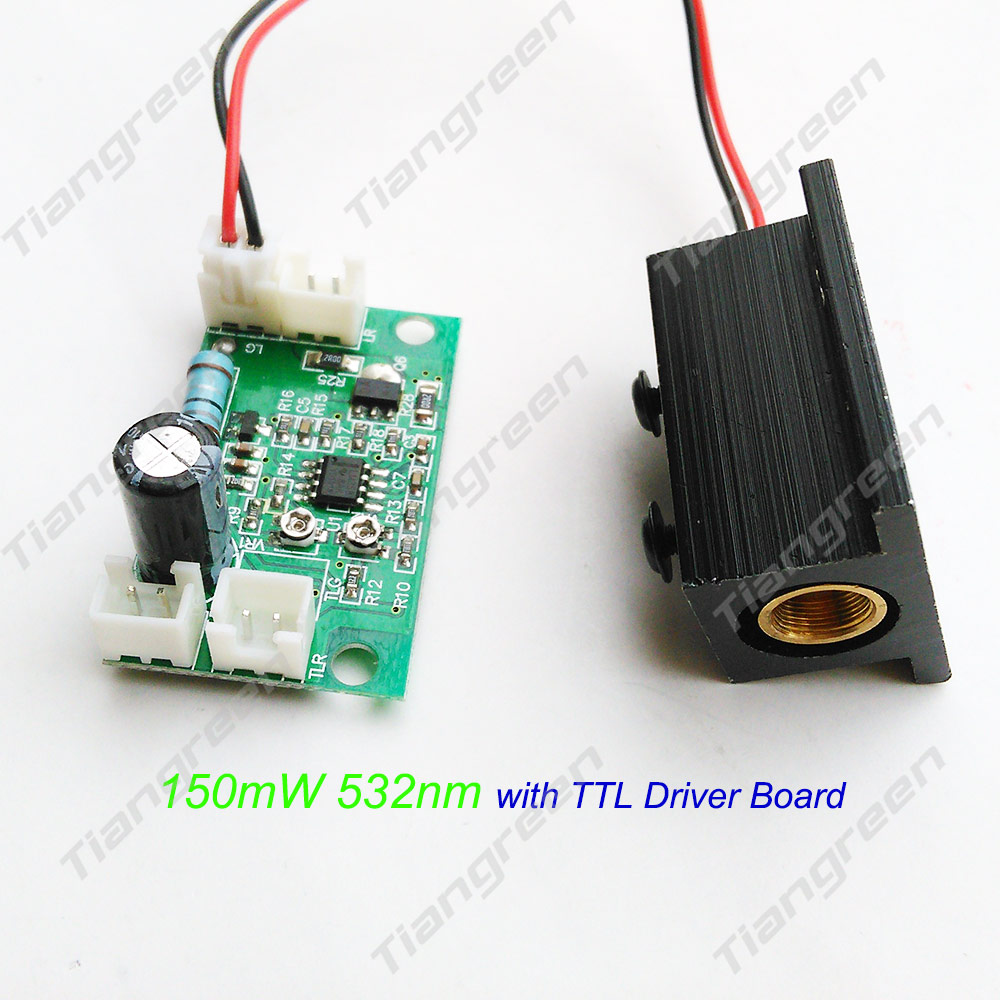 532nm 150mW Green Laser Module Diode with TTL Driver Board with Heatsink for DIY Stage Lighting noritsu blue laser head with driver pcb a type laser gun laser diode laser unit for qss 3000 3001 3011 3021 3101 china assembled
