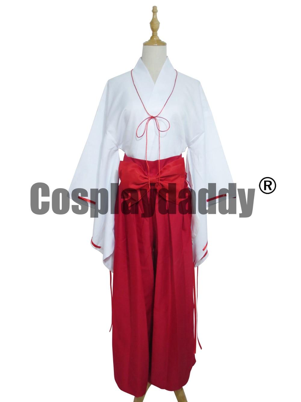 Inuyasha Kikyo Miko Priestess White Red Kimono Cosplay Costume