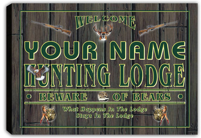 scql1-tm Personalized Hunting Lodge Deer Bear Stretched Canvas Print Decor Sign Wholesale Dropshipping
