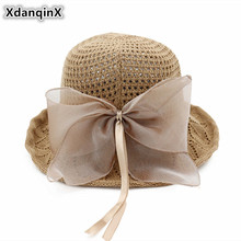 XdanqinX Summer New Style Solid Foldable Sun Hats Elegant Womens Bow Fashion Bucket Hat Sunscreen Sunshade Beach For Women