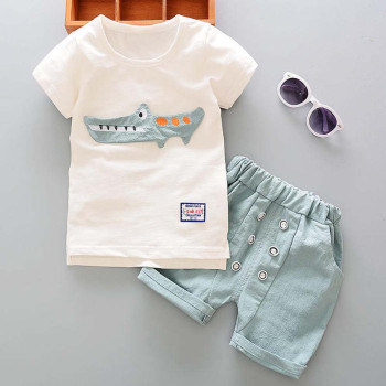 Toddler Boy 2 Pieces Set - Crocodile T-shirt & Short Trousers