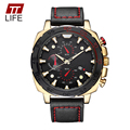 TTLIFE Masculino Vestido Wirst Militar Relógios 2016 Data Dia Luxo Homens relógio Pulseira de Couro de Quartzo dos homens Esportes Relógios Para Homens relógio