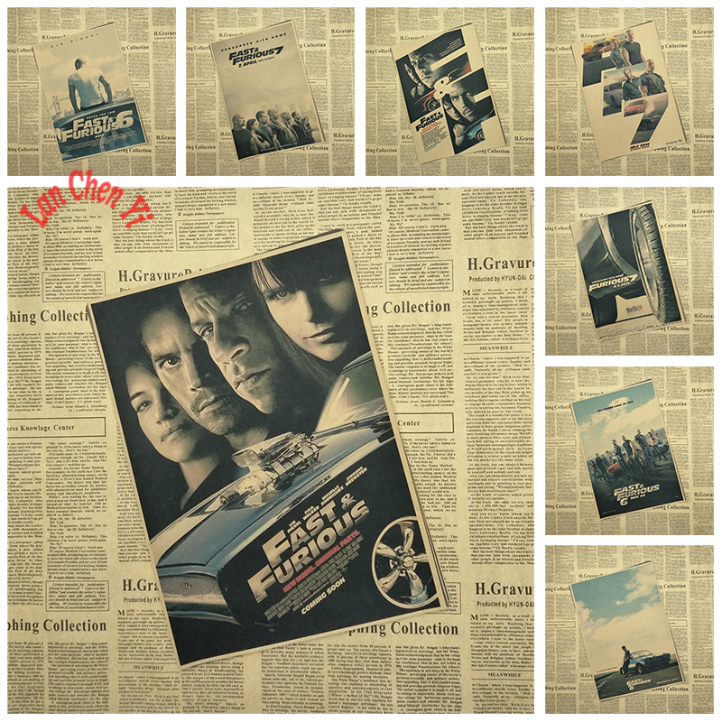 Classic TV series Fast & Furious Vintage Kraft Paper Poster Cafe Creative wallpaper Interior Decoration