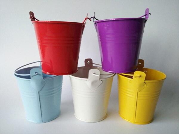 Image 3 - Цветные металлические подстаканники свадебные ведра мини Pail детская игрушка в ванную день рождения D5.5XH5.5CM украшения Дети-in Цветочные горшки и кадки from Дом и животные