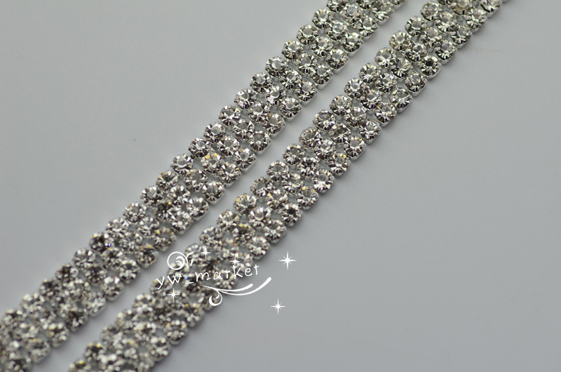 3 Row Glass Crystals Strass Kette Silber Trim Applique annähen Kuchen Ribbon Dekoration 1 Yard
