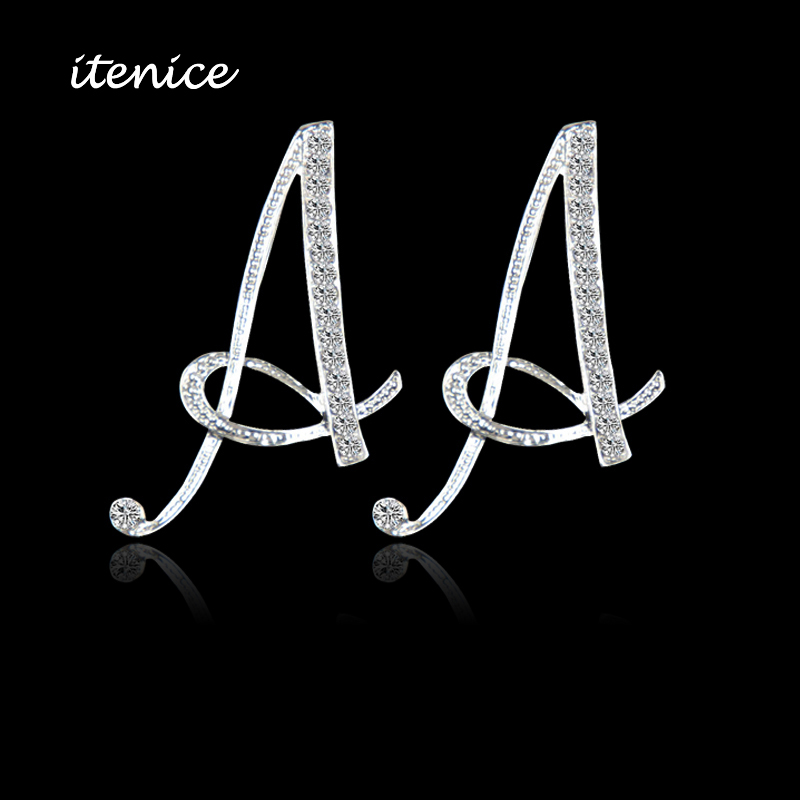 2016 New Design Classic 26 Letters Stud font b Earrings b font Fashion Jewelry For Women