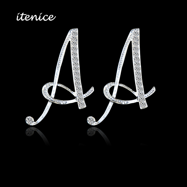 2017 New Design Classic 26 Letters Stud Earrings Fashion Jewelry For Women Crystal Rhinestone Push Back Trendy
