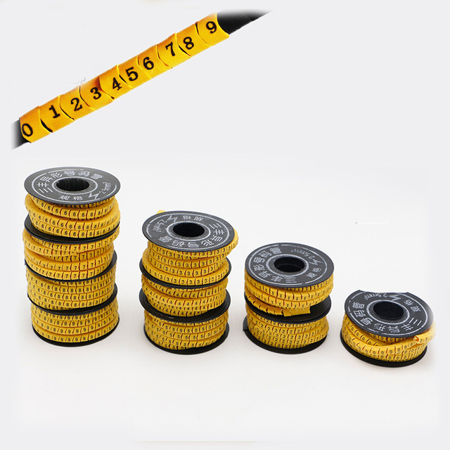 10 Rolls/Lot Wire Cable Marker Cable Sleeve PVC Number 0 9 2.5mm ...