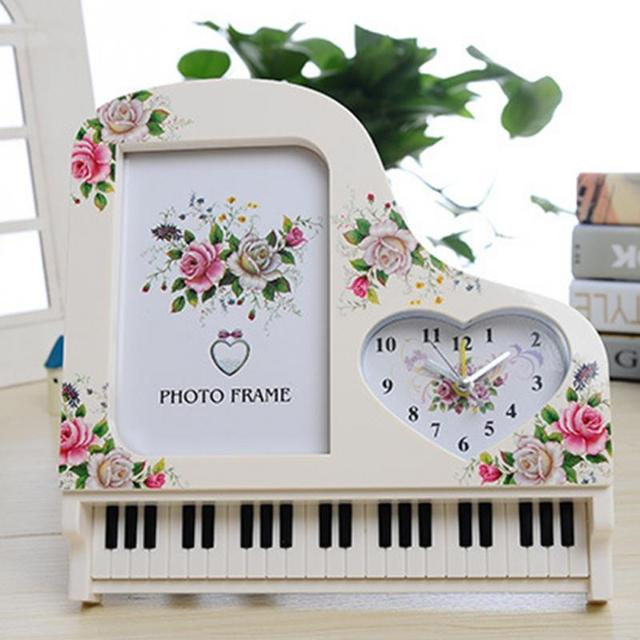 Clocks 2015 New Fashion Piano Photo Frame Shape Alarm Clock Table