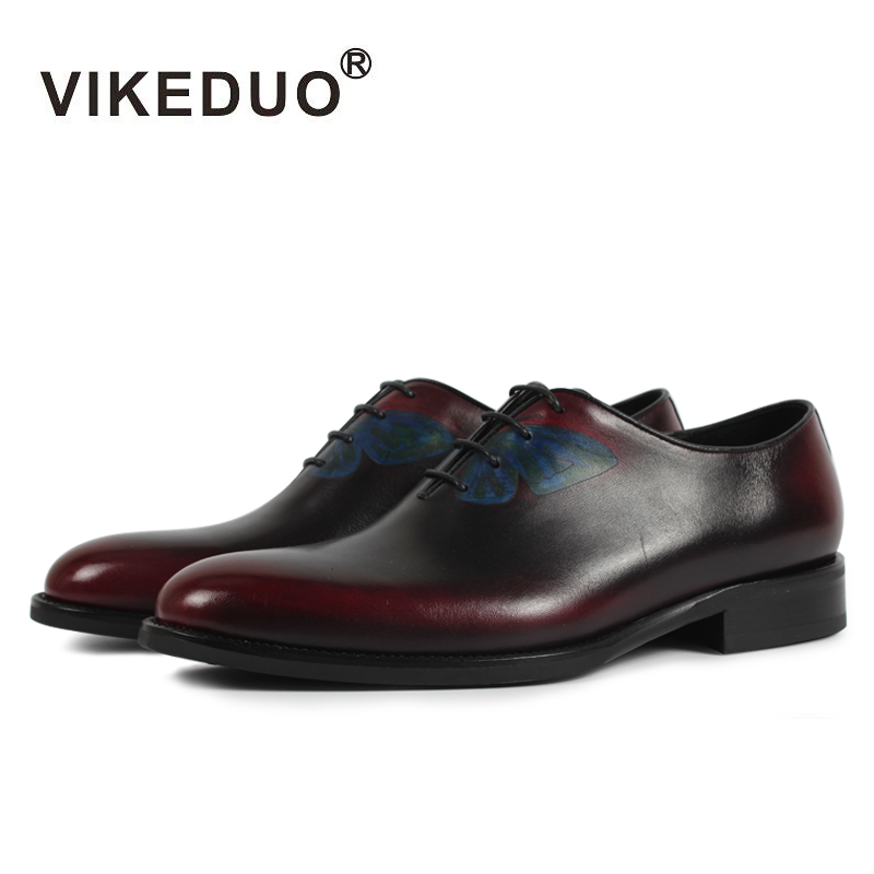 VIKEDUO 2018 Vintage Dress Shoes Men Classic Butterfly Painting Formal Shoe Male Wedding Office Footwear Genuine Leather Zapatos nirvel professional оттеночный шампунь медный copper 250 мл